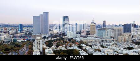 Tel Aviv  skyline  at sunset - Stock Photo