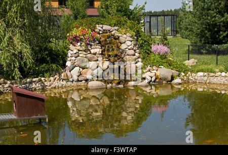 Example of landscape design for garden little artificial for Artificial pond in garden