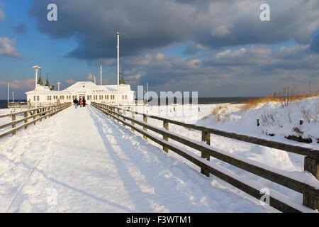 bridge open sea in ahlbeck - Stock Photo