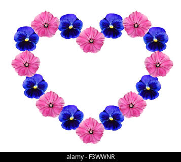 Flowers in form of heart - Stock Photo