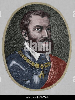 Charles I of Spain and V of Germany (1500-1558). Portrait. Engraving. 19th century. Late colouration. - Stock Photo