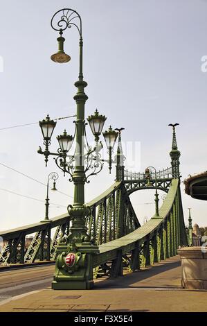 The Liberty Bridge in Budapest, Hungary - Stock Photo