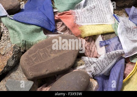 India, Jammu & Kashmir, Ladakh, Leh, Namgyal Tsemo Gompa monastery mani stones and prayer flags
