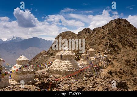 India, Jammu & Kashmir, Ladakh, Leh, line of chortens at entrance to Namgyal Tsemo Gompa monastery