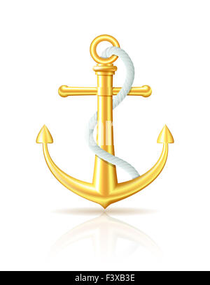 Gold Anchor With Rope On White Background