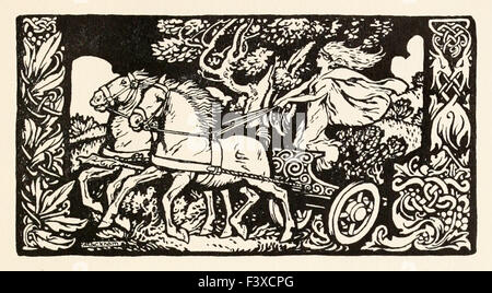 Becfola in her chariot from 'The Wooing of Becfola' in 'Irish Fairy Tales', illustration by Arthur Rackham (1867 - Stock Photo