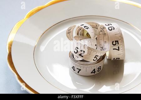 White centimeter on white chinaware - Stock Photo