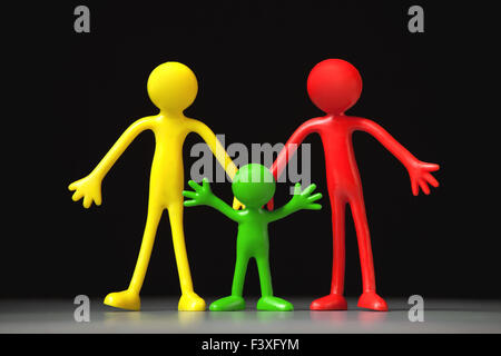 Colorful People on black background - Stock Photo