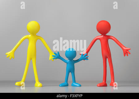 Colorful People on gray background - Stock Photo