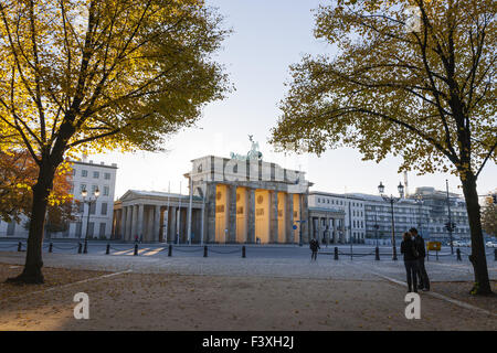 Sunrise at Brandenburg Gate, Berlin, Germany - Stock Photo