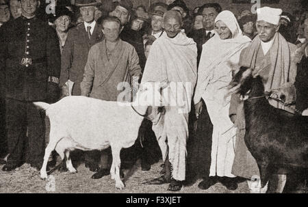 Mahatma Gandhi arrives in London, England in 1931 with his disciple, Madeleine Slade, and his two goats.  Mohandas Karamchand Gandhi, 1869 – 1948.  Leader of the Indian independence movement in British-ruled India. Madeleine Slade aka Mirabehn, 1892 – 1982.  British woman who left her home in Britain to live and work with Gandhi.