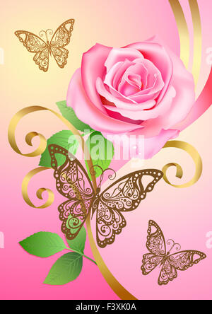 Postcard with rose, butterflies - Stock Photo
