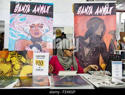 New York City, New York, USA. 10th Oct, 2015. SANYA ANWAR, a Canadian comic artist and illustrator, is at Artist - Stock Photo