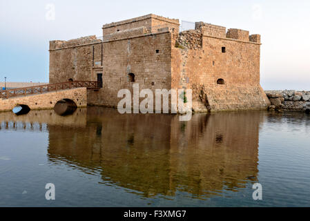 Medieval fort in Paphos port - Stock Photo