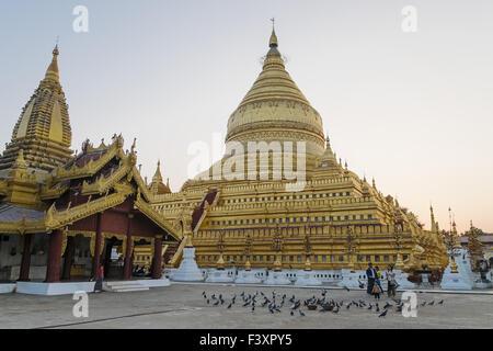 Shwezigon Pagoda, Nyaung U, Myanmar, Asia - Stock Photo