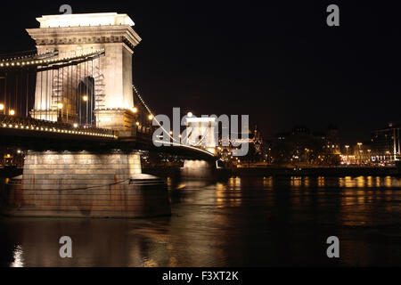 The Chain Bridge in Budapest in the evening - Stock Photo