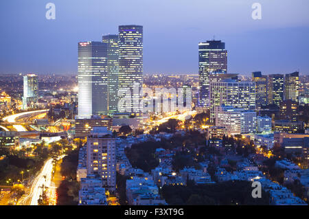 Tel Aviv at Night - Stock Photo