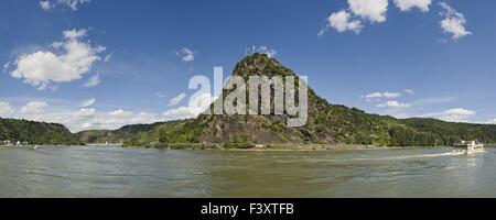 Lorelei Rock above the Rhine River, Germany - Stock Photo
