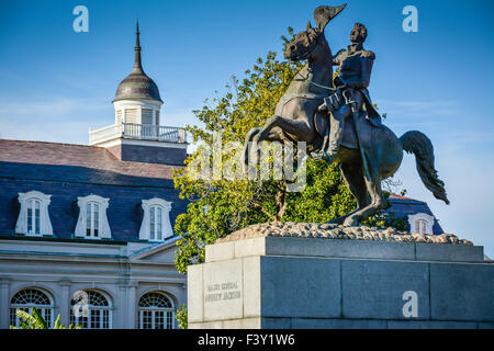 An equestrian statue of General Andrew Jackson before the Louisiana State Museum, French Quarter, Jackson Square, - Stock Photo