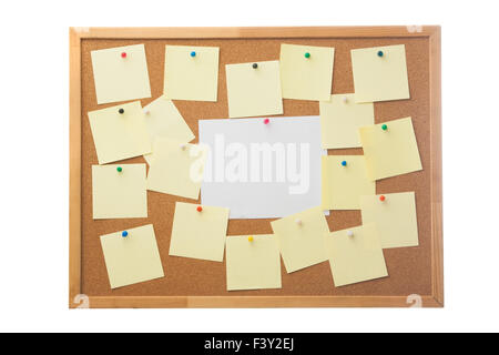 Corkboard and blank paper notes. - Stock Photo