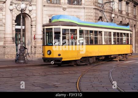 Vintage tram on the Milano street - Stock Photo