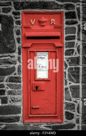 Red Post Box In Wall - Stock Photo