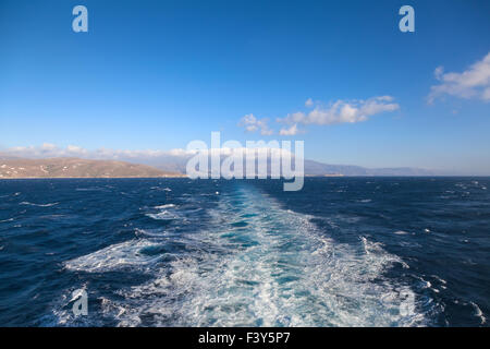 Water splashes after ferry - Stock Photo