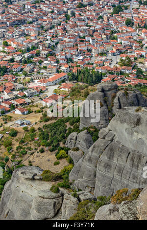 Aerial view of small town in Greece - Stock Photo