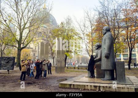 Marx-Engels-Monument, Berlin, Germany - Stock Photo