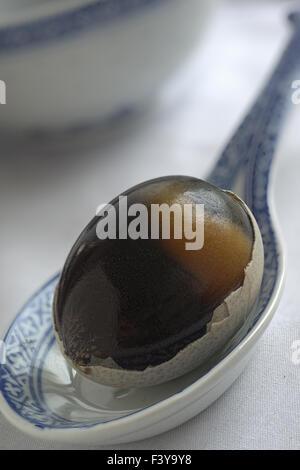 Fermented, preserved Egg, century egg - Stock Photo