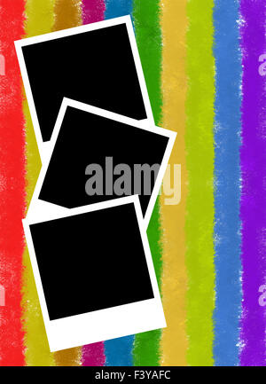 photo frame on colorful stripes background - Stock Photo