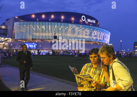 Visitors in front of O2 World, Berlin - Stock Photo