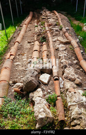 Roman plumbing excavation in Gonio fortress - Stock Photo