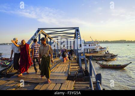 At the jetty, Yangon, Myanmar, Asia - Stock Photo