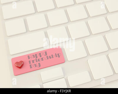 happy friendship day, heart on enter key - Stock Photo