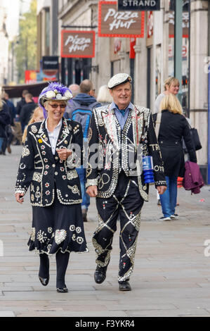 Pearly King and Queen, London England United Kingdom UK - Stock Photo