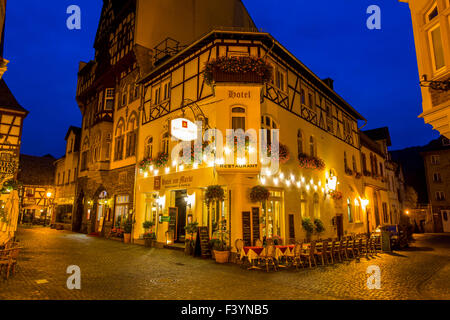 Historic old town houses, wine village Bacharach, in the upper middle Rhine valley, Germany - Stock Photo