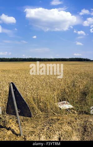 Road sign on cornfield, Germany - Stock Photo