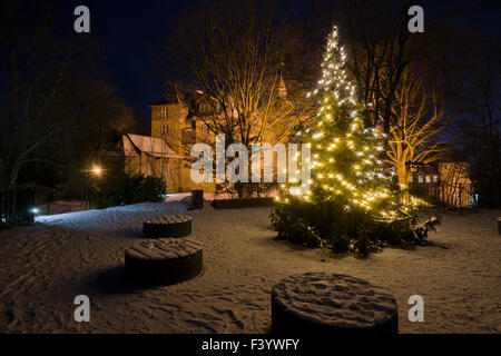 The Upper Castle in Siegen, christmas tree - Stock Photo