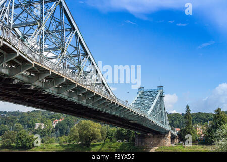 Blue Wonder bridge Dresden, Germany - Stock Photo