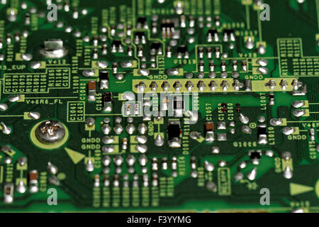 Close up photo of the printed circuits - Stock Photo