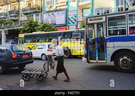 Street scene, Yangon,Myanmar - Stock Photo