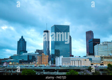 Downtown Atlanta at night time - Stock Photo