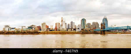 Cincinnati downtown panoramic overview - Stock Photo
