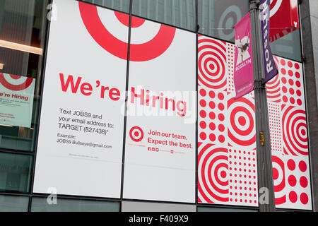 Target department store We're hiring sign  - USA - Stock Photo
