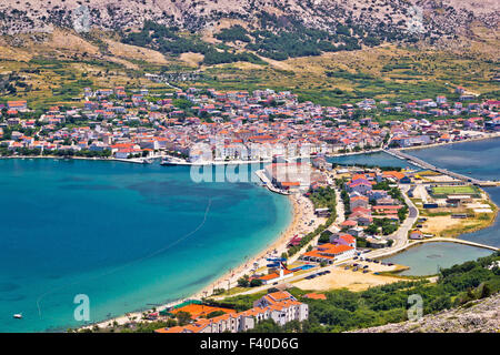 Pag island bay aerial view - Stock Photo