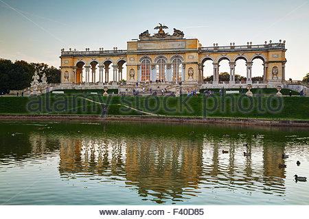 Gloriette Schonbrunn in Vienna at sunset - Stock Photo