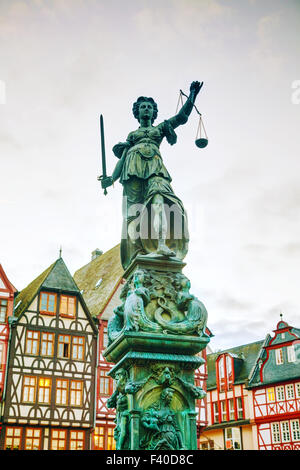 Lady Justice sculpture in Frankfurt, Germany - Stock Photo