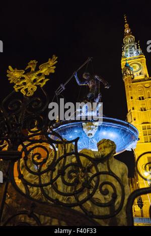 Neptune's Fountain, Gdansk, Poland - Stock Photo