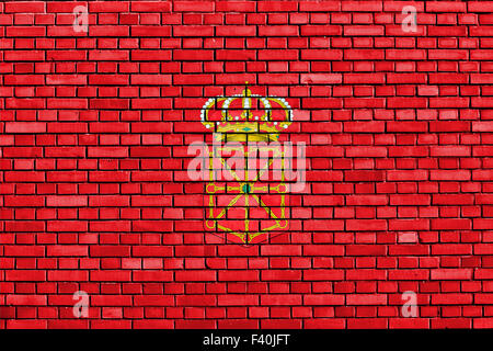 flag of Navarre painted on brick wall - Stock Photo